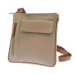 Rowallan Top Zip Bag in Taupe Leather