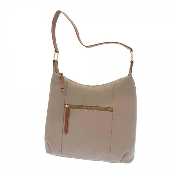 Rowallan Zipped Top Bag in Taupe Leather