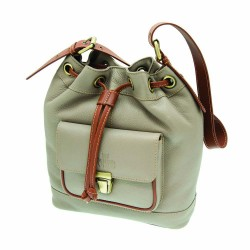 Rowallan Drawstring Bag in Taupe Leather