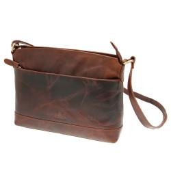 Rowallan East-West Curved Top Zip Bag in Cognac Leather
