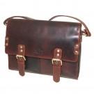 Rowallan Twin Buckle Flapover Bag in Cognac Leather