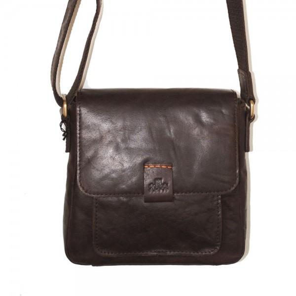 Rowallan Small Cross Body Bag in Brown Leather