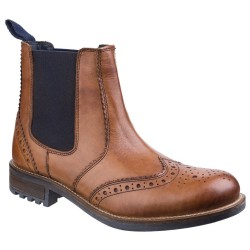 Cotswold Cirencester Mens Chelsea Brogue Tan Boot