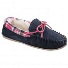 Cotswold Kilkenny Womens Navy Leather Slipper