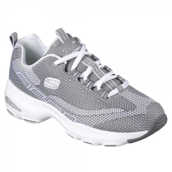 Skechers D'Lite Ultra Womens Grey-White Sports Shoe