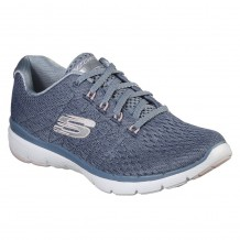Skechers Flex Appeal 3.0 Satellites Womens Blue-Silver-White Shoe