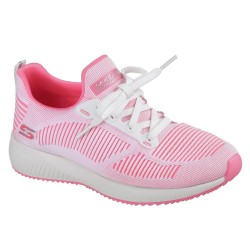 Skechers Bobs Sport Squad Twinning Womens White-Hot Pink Shoe