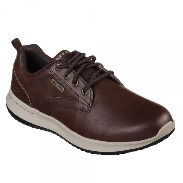 Skechers Delson Antigo Mens Red-Brown Waterproof Shoe