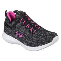 Skechers Ultra Flex Bright Horiz Girls Black-Hot Pink Trainer