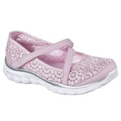 Skechers Skech Flex 2.0 Comfy Crochetes Girls Pink-Silver Shoe