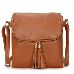 Long and Son 16631 Womens Brown Crossbody Bag