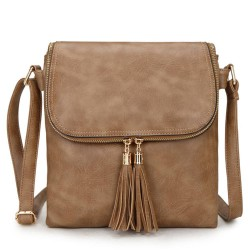 Long and Son 16631 Womens Khaki Crossbody Bag