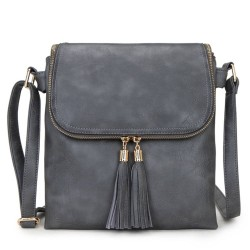 Long and Son 16631 Womens Dark Grey Crossbody Bag