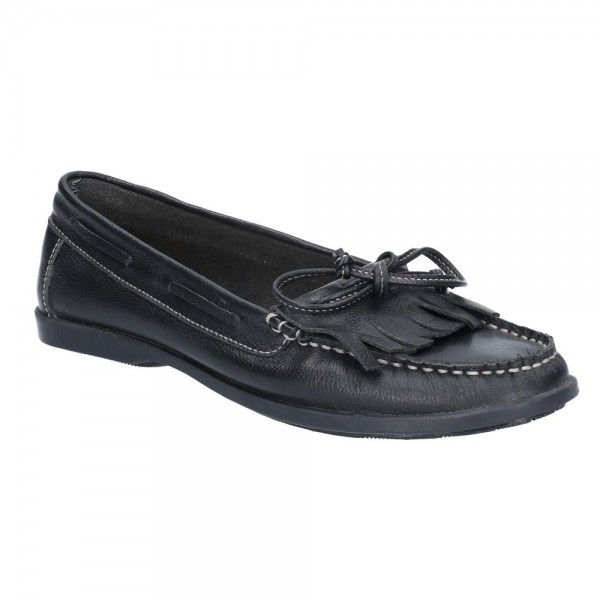 Hush Puppies Coco Moccassin Black Slip On Shoe