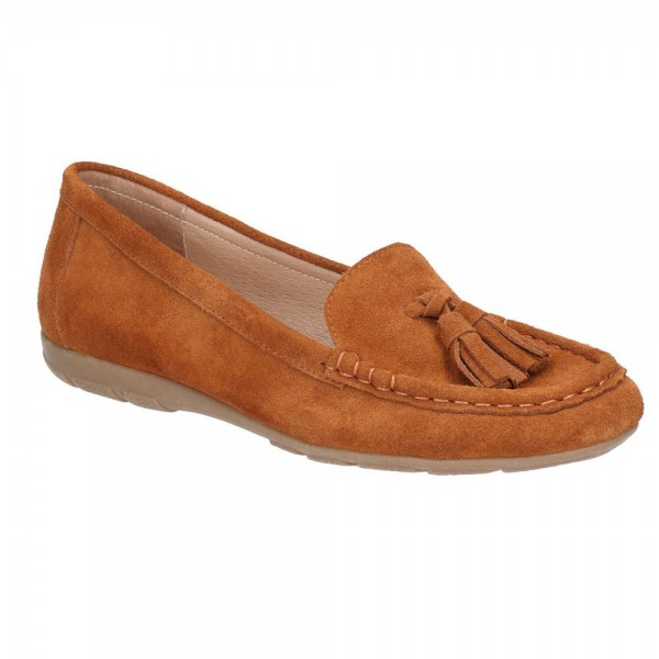 Hush Puppies Daisy Tan Slip On Moccasin Shoe