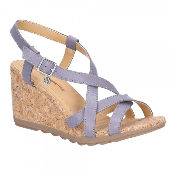 Hush Puppies Pekingese Blue Strappy Buckle Sandal