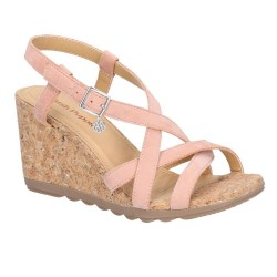 Hush Puppies Pekingese Peach Strappy Buckle Sandal