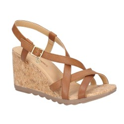 Hush Puppies Pekingese Tan Strappy Buckle Sandal