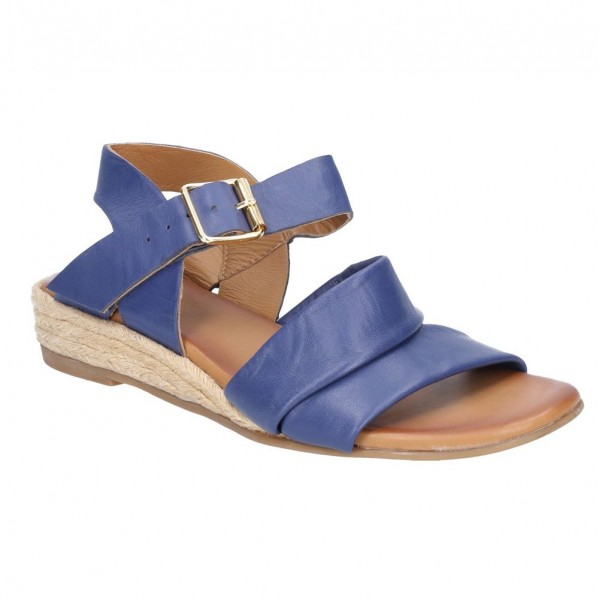 Hush Puppies Ruby Blue Buckle Strap Wedge Sandal