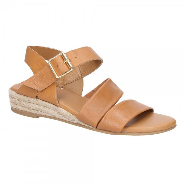 Hush Puppies Ruby Tan Buckle Strap Wedge Sandal
