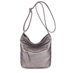 Long and Son 18804 Womens Silver Shoulder Bag