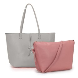 Long and Son 8859 Womens Light Grey Tote Double Bag