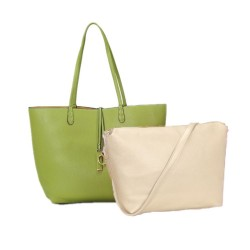 Long and Son 8859 Womens Green Tote Double Bag