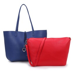 Long and Son 8859 Womens Navy Tote Double Bag