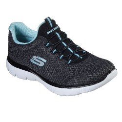 Skechers Summits-Striding Knit Mesh Bungee Slip On Trainer Black Turquoise