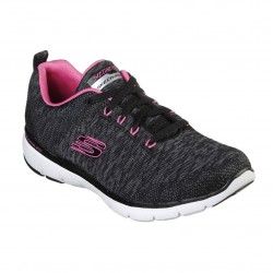 Skechers Flex Appeal 3.0 Lace Up Air Cooled Memory Foam Black Hot Pink Trainer