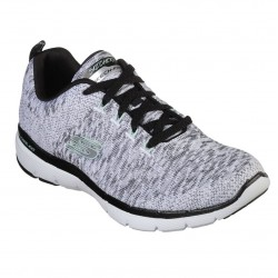 Skechers Flex Appeal 3.0 Lace Up Air Cooled Memory Foam White Black Trainer