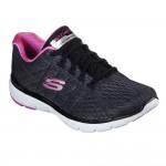 Skechers Flex Appeal 3.0 Satellites Black Hot Pink Trainer