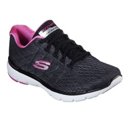 Skechers Flex Appeal 3.0 Satellites Black Hot Pink Trainer