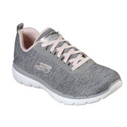 Skechers Flex Appeal 3.0 - Insiders Lace Up Air Cooled Memory Foam Grey Trainer