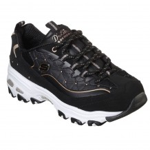 Skechers D'Lites-Glamour Feels Studded Triangle Embossed Overlay Lace Up Trainer