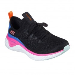 Skechers Solar Fuse Stretch Flat Knit Laced Slip On Trainer Black Multi