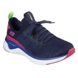 Skechers Solar Fuse Stretch Flat Knit Laced Slip On Trainer Navy Multi