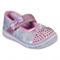 Skechers Twinkle Play Ombre Star Print Mary Jane Lighted Toe Cap Pink Multi Shoe