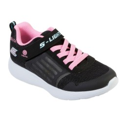 Skechers Dyna-Lights Lighted Quarter Touch Fastening Strap Black Trainer