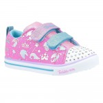 Skechers Sparkle Lite-Sparkleland Canvas Double Strap Touch Fastening Trainer