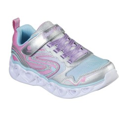 Skechers Heart Lights-Love Spark Iridescent Lighted Sparkle Silver Trainer