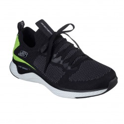 Skechers Solar Fuse-Valedge Slip On Jogger Mens Trainer Lace Ups Black Lime