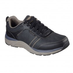 Skechers Sentinal-Lunder Leather Lace Up Mens Black Trainer