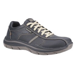 Skechers Expected 2.0-Belfair Bike Toe Lace Up Mens Black Tan Shoe
