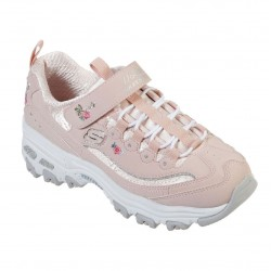 Skechers D'Lites-Lil Blossom Floral Embroidery Touch Fastening Girls Trainer