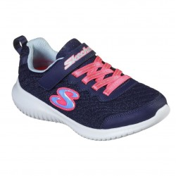 Skechers Ultra Flex Embossed Mesh Girls Navy Sparkle Neon Coral Trainer