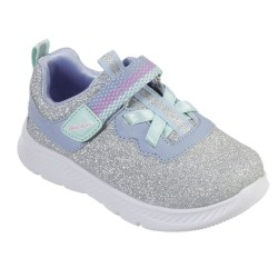 Skechers Comfy Flex 2.0-Lucky Sparkles Touch Fastening Girls Silver Trainer