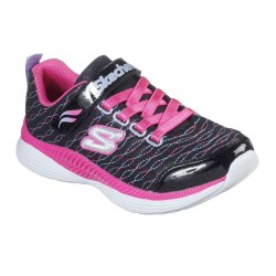 Skechers Move'N Groove-Sparkle Spinner Lace Up Girls Black Pink Trainer