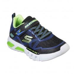 Skechers Flex-Glow Gore & Strap Lighted Boys Blue Lime Trainer