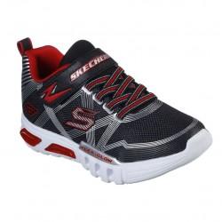Skechers Flex-Glow Gore & Strap Lighted Boys Black Silver Red Trainer